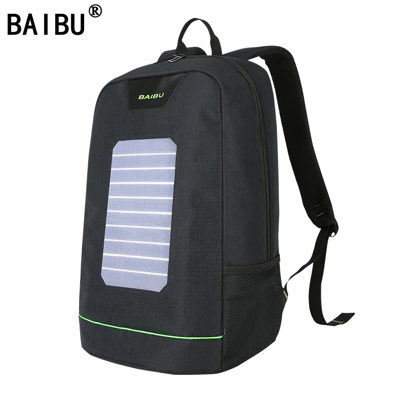 BAIBU Men Backpack 10W Solar Powered Backpack Usb Charging Anti-Theft Laptop Backpack for women Laptop Bagpack Waterproof Bags men s backpack anti theft usb charging travel backpack waterproof nylon unisex school bags for female laptop business backpack