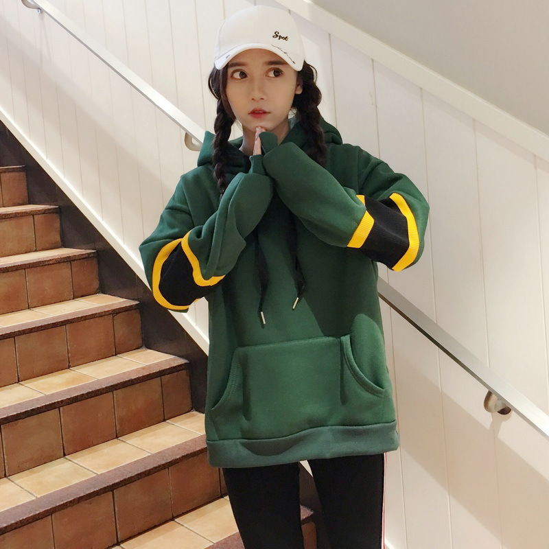 Fashion Loose Green Hoodies Warmer Autumn Winter Large size Bottom Coat in Hoodies amp Sweatshirts from Women 39 s Clothing