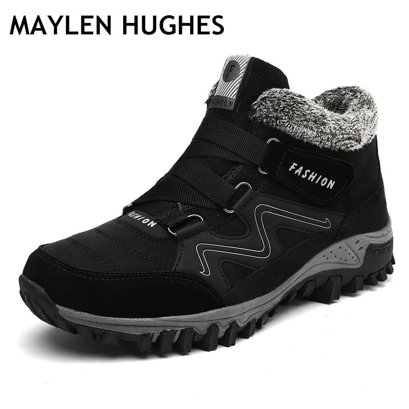 Grande Size36-46 das mulheres dos homens sapatos de caminhada inverno couro pele quente tornozelo botas de neve ao ar livre sapatos montanha esporte escalada bota