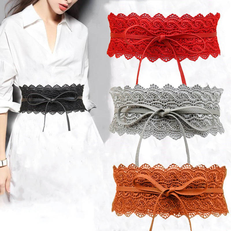 Black Sexy Lace Wide Waist Belt Pu Leather Cute Sweet Wide Belt Fashion Dress Accessories Belt For Women Wedding Dress Waistband