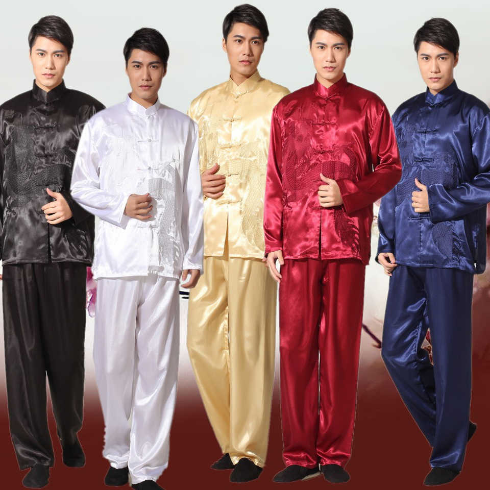Zwart Chinese Traditionele mannen Satin Kung Fu Pak Vintage Borduurwerk Draak tai chi wushu uniform clothing sml xl xxl 011320