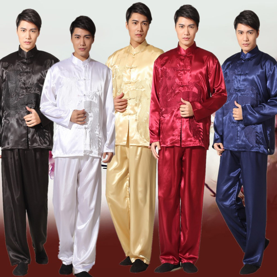Noir chinois traditionnel hommes Satin Kung Fu costume Vintage broderie Dragon Tai Chi Wushu uniforme vêtements S M L XL XXL 011320