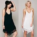 2016 Sexy Spaghetti V Neck Lace Curto vestido de Verão T Camisa de Vestido para As Mulheres vestido Preto Mini Partido da Mulher Branca vestido
