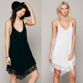 2016 Sexy Spaghetti V Neck Lace Short Sundress T Shirt Dress for Women vestido Black White Woman's Mini Party Dress