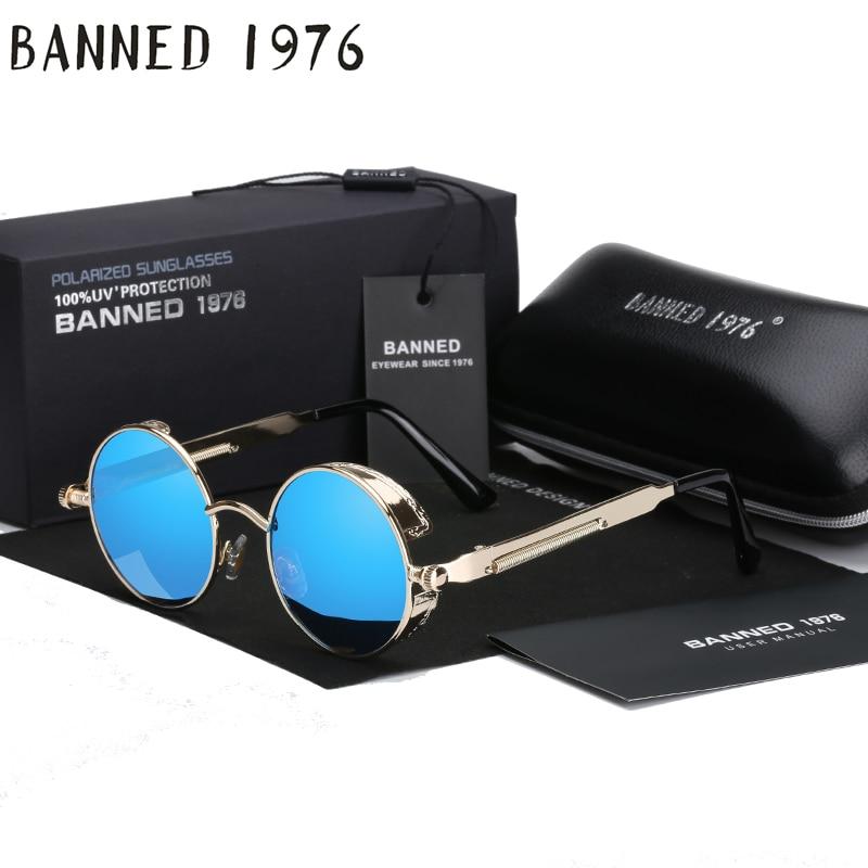 2017 Retro Round Metal polarized Punk Steampunk Sunglasses For Women Men, Vintage Sun Glasses oculos de sol feminino masculino