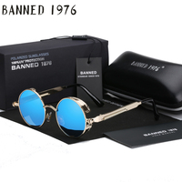 2017 Retro Round Metal Punk Steampunk Sunglasses For Women Men Vintage Mirror Sun Glasses Oculos De