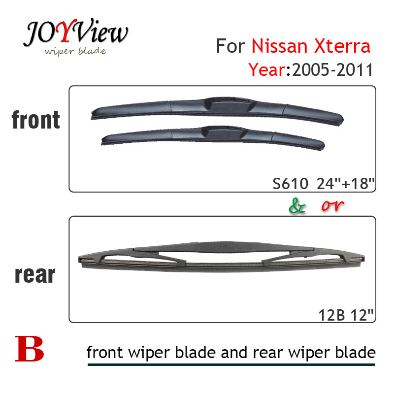 FRONT WIPER S610 24+18 INCH AND 12B REAR BLADE FIT FOR NISSAN XTERRA(05-11), SIZE: 12 (305MM)