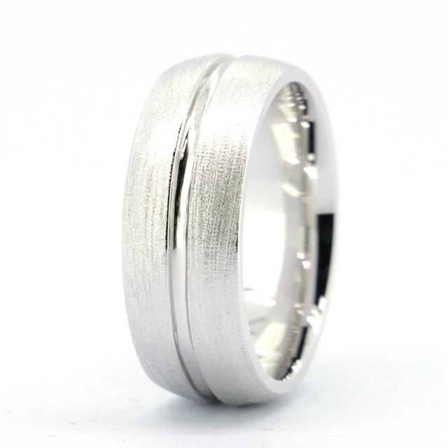 Tailor Made 7mm Dual Finish Dome Groove 925 Sterling Silver Wedding Band Ring Size 4