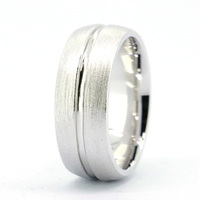 Tailor Made 7mm Dual Finish Dome Groove 925 Sterling Silver Wedding Band Ring Size 4 16 (#R028)