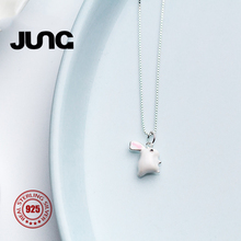 2018 JUNG Trendy Couple Romantic Cute Rabbit Sweet Bunny 925 Sterling Silver Necklace Chain Charms Pendant Jewelry Women xl17188
