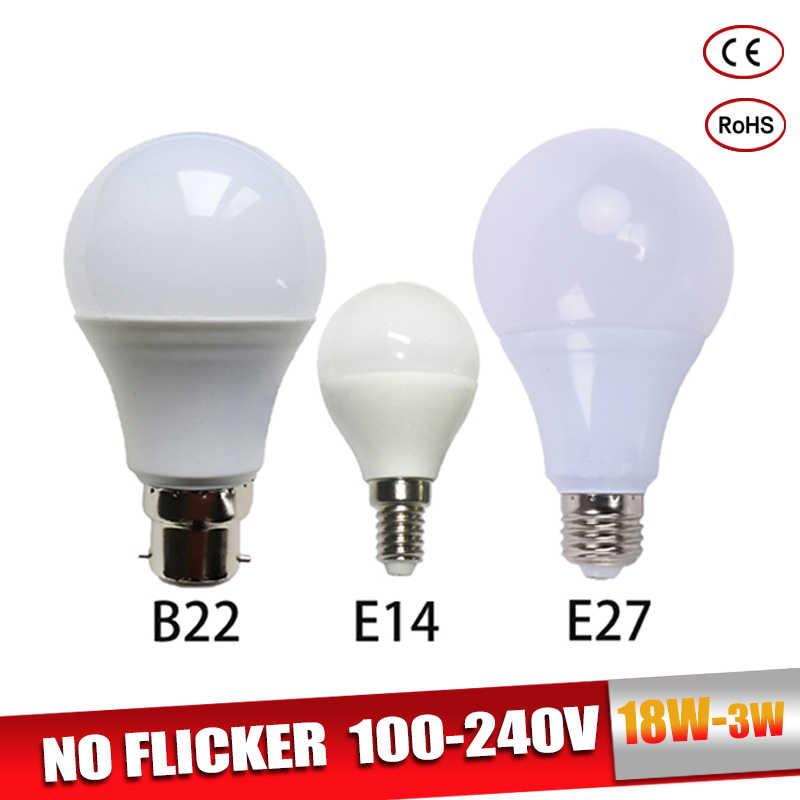 Żarówka LED E27 prawdziwa dioda LED dużej mocy żarówka B22 3W 5W 7W 9W 12W 15W 18W 220V LED lampa E14 Lampada ampułka Bombilla do lampy stołowej