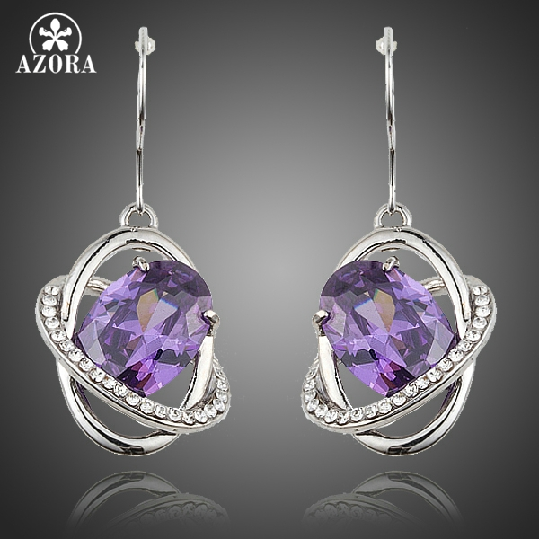 AZORA Lastest Design Gorgeous Egg Shape Purple Cubic Zirconia Halo Drop Earrings For Women TE0189 pair of gorgeous chic style faux gem embellished women s leaf shape drop earrings