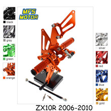 For Kawasaki Ninja ZX10R 2006-2010 Motorcycle Foot Pegs CNC Adjustable Rearset Foot Rests ZX 10R 2009 Footrests Footpegs Pedal motorcycle rear set accessories for kawasaki ninja zx 10r 2011 2016 cnc adjustable rearset zx10r foot pegs foot rests footpegs