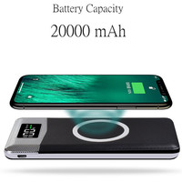 20000mah QI Wireless 2USB Ports Charger 5W Pad Power Bank Built In Wireless Charging Universal For