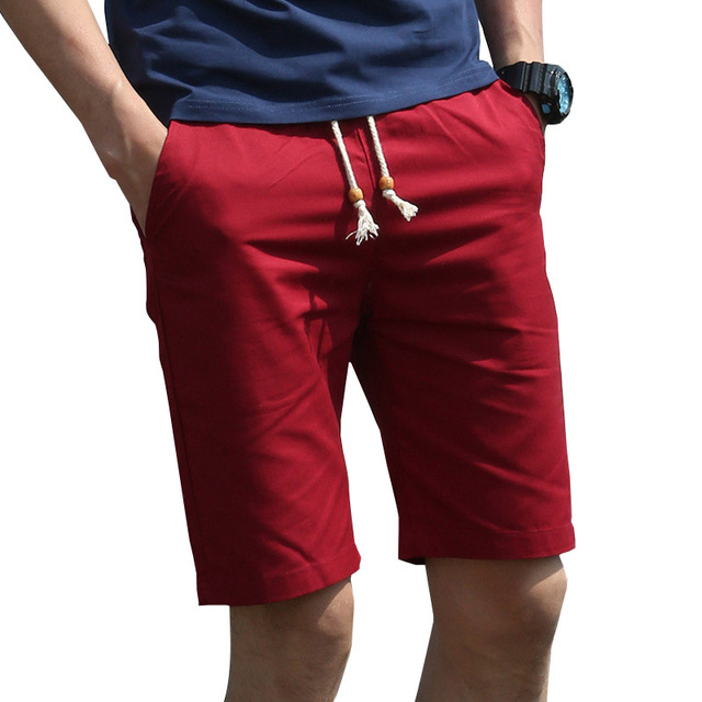 98ab59aa92ca2 2018 Summer Fashion New Breathable Cotton Bermuda Casual Men s Shorts  Straight Men Khaki Black Knee Length