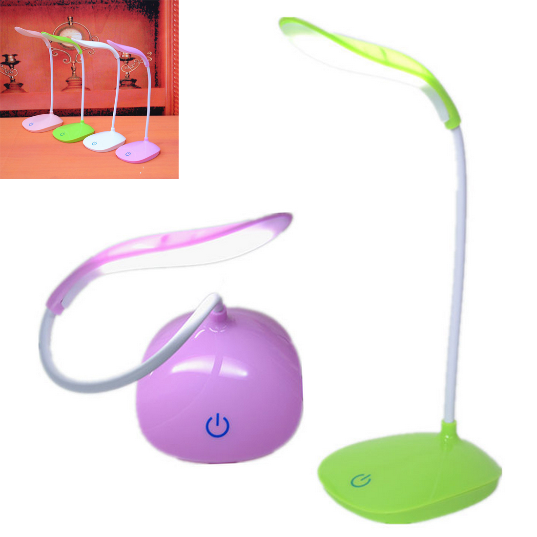Mini 14LED Touch Screen Aprendizagem da Criança Olho lâmpada de Leitura Lâmpada de Mesa Lâmpada Quarto lâmpada de Cabeceira Lâmpada de Leitura Luzes LED de Carregamento USB