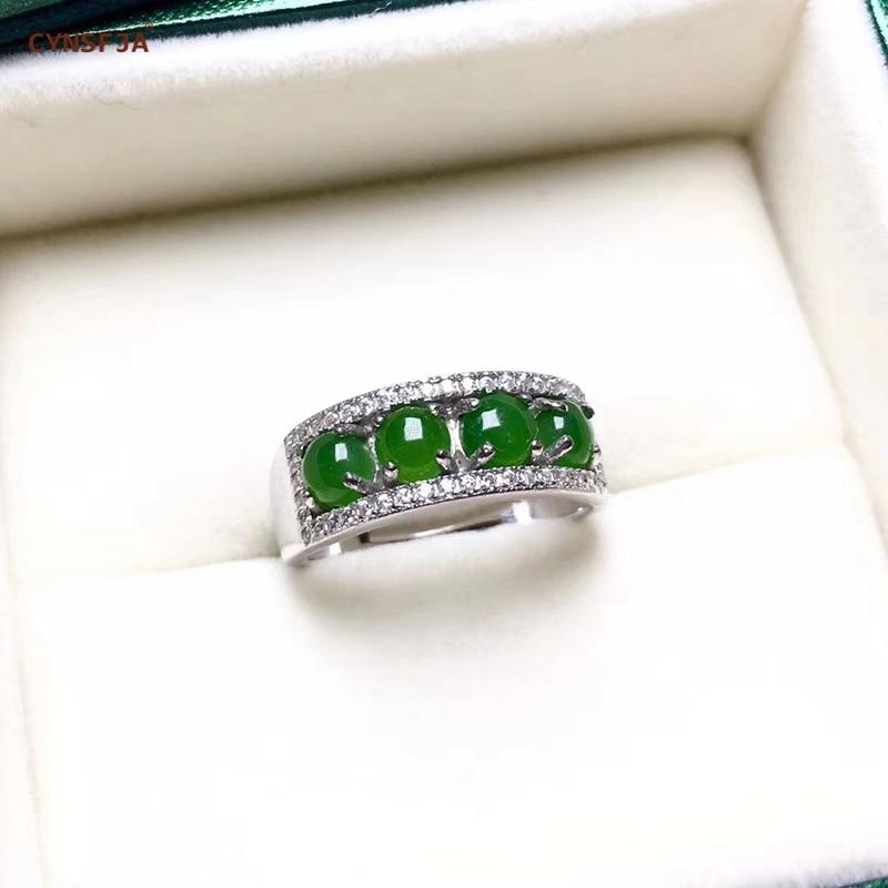 Certificado Natural Hetian Jasper Embutidos CYNSFJA Real 925 Prata Esterlina Encantos Amuletos Anéis de Jade Verde de Alta Qualidade Ajustável