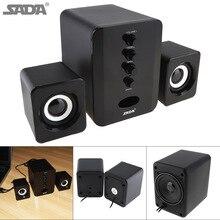 SADA Full Range 3D Stereo Subwoofer 2.1 Small PC Speaker Portable bass Music DJ USB Computer Speakers For laptop Phone TV
