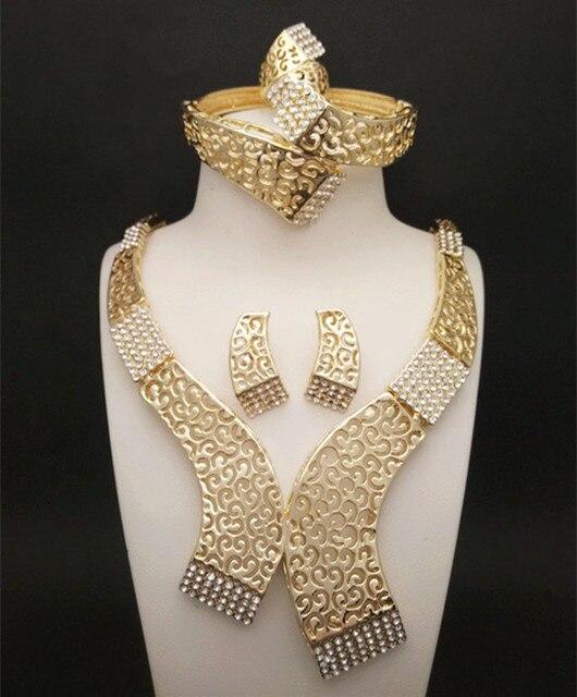 Reino Ma Africano Boda Conjuntos de Joyas de Oro Imitado Collar de Cristal Mujeres Anillo Nupcial Pendientes Pulsera Accesorios
