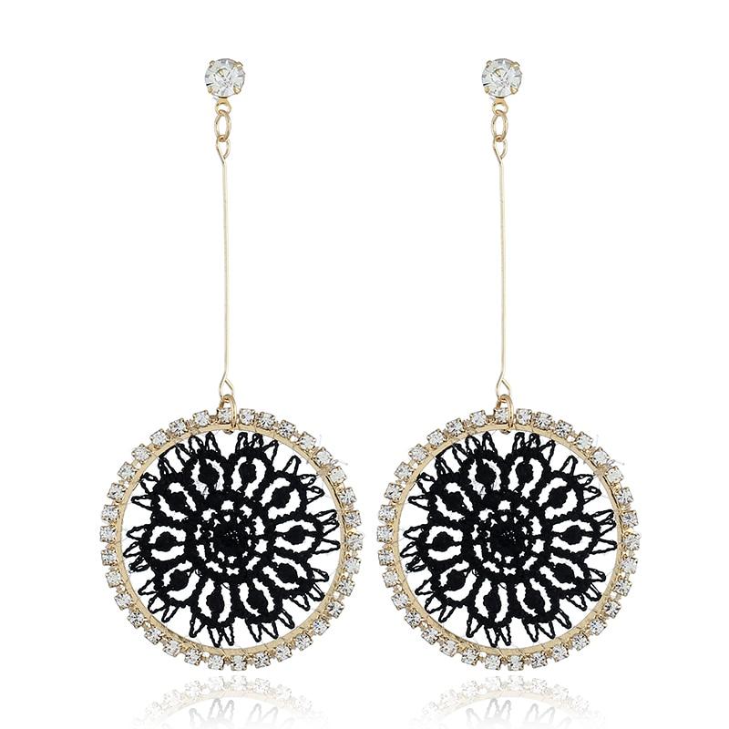 Korea Chic Drop For Earrings Women Shiny Crystal Weave Network Round Dangle Big gold Earrings Femme Charm Jewelry brincos 2018 in Drop Earrings from Jewelry Accessories