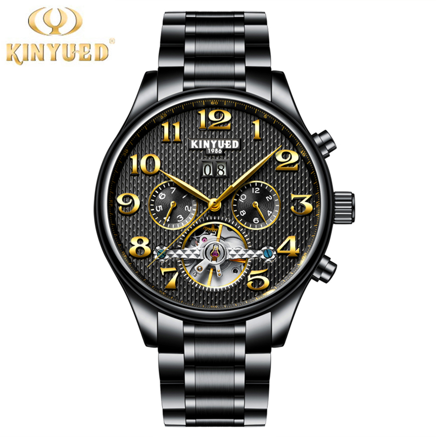 2017 KINYUED Mens Watches Top Luxury Brand Men Tourbillon Watch Automatic Mechanical Men Black Wrist Watch Relogio Masculino forsining automatic tourbillon men watch roman numerals with diamonds mechanical watches relogio automatico masculino mens clock
