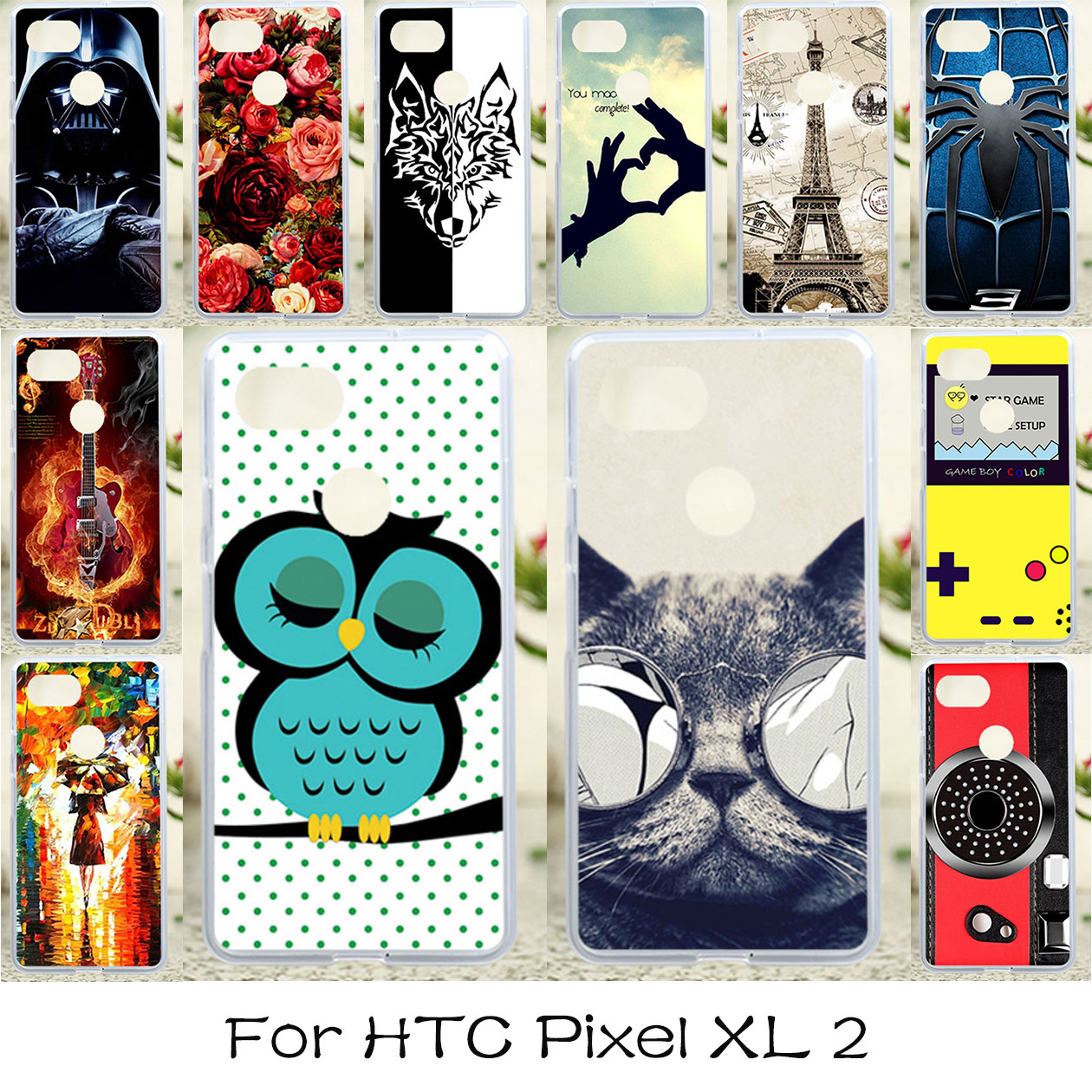 Case Soft For HTC Pixel XL 2 Case Anti-Knock For HTC Google Pixel XL2 Soft Silicone DIY For HTC Pixel XL 2 Cases