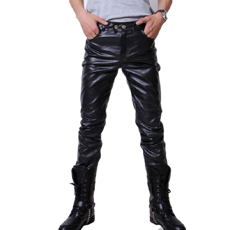 Casual Men Fashion Skinny Motorcycle Faux Leather Trousers ...