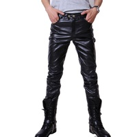 Casual Men Fashion Skinny Motorcycle Faux Leather Trousers Black Long Pants For Men Asia/Tag Size M 3XL (No Belt)