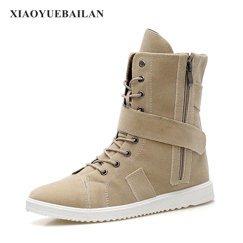 The British Winter Boots Martin Male High Shoes With Warm Velvet Snow For Mens All-match Long Canister