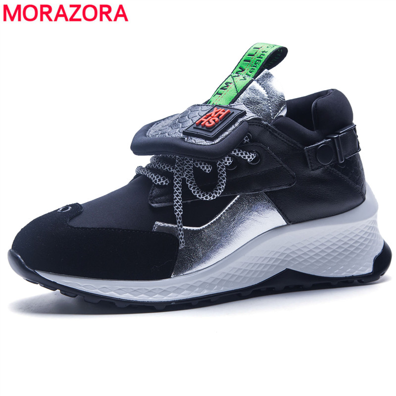 MORAZORA SIZE 35-42 Women sneakers high quality real leather flat platform shoes spring summer lace up ladies shoes flats doratasia flowers embroidery women shoes sneakers lace up fashion flat platform ladies shoes woman high quality