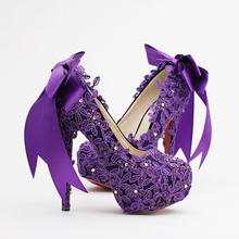 High Heel Fashion Flower Rhinestone Bridal Shoes Purple Lace Wedding Shoes