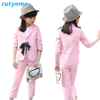 Cutyome Teenage Girls Formal Suit Set 2018 Autumn Solid Bow Knot Jacket+Pants Children Back School Clothes 12 14 Kids Tracksuits
