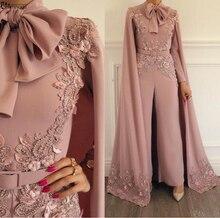Elegancka muzułmańska suknia wieczorowa 2020 różowa koronka aplikacje zroszony wieczór spodnie dubaj arabski długie rękawy formalna suknia wieczorowa