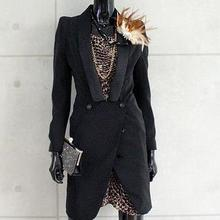 new arrival runway Women long BlazersV neck fashion plus size cotton double button coat