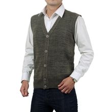 WAEOLSA Mature Men Textured Knitted Vest Gray Waistcoat Father Herringbone Vests V-neck Weskit Grandpa Single Breasted Gilet 2XL