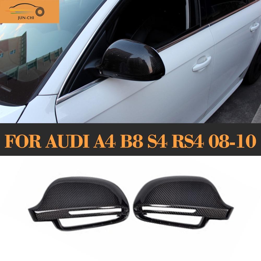Carbon Fiber Mirror Cover Caps For Audi A4 B8 S4 RS4 08-10 without side assist 2pcs carbon fiber rearview mirror cover for audi a4 b8 2013 2015