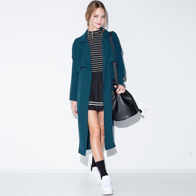 Женщины Синий Нагрудные С Длинным Рукавом Пояса Талии Вскользь Уменьшают Ярусного Пальто 2016 Осень Новый Элегантный Карманы Epaulet Пальто D0422
