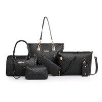 6 Pcs/set Composite Bags Designer Luxury Lady Handbag Set Women Shoulder Crossbody Bags for women 2018 Purse Clutch Wallet bolsa