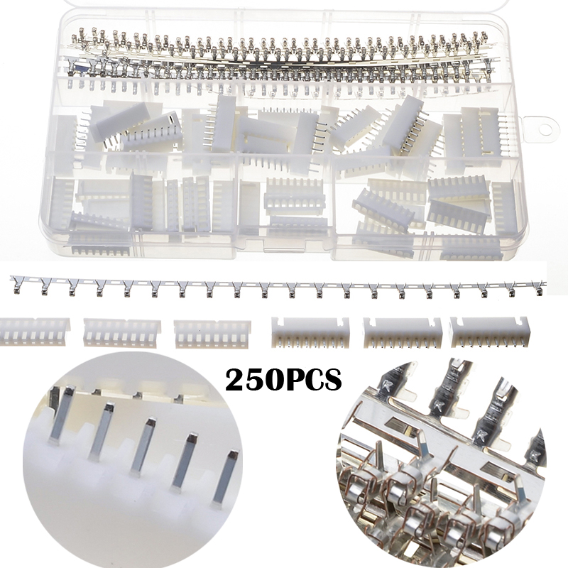 YT 250PCS 8 Pin White Dupont Electrical Wire Pin Jumper Header Housing Connectors Kit Male Female Cable Crimp Terminals 1000pcs dupont jumper wire cable housing female pin contor terminal 2 54mm new