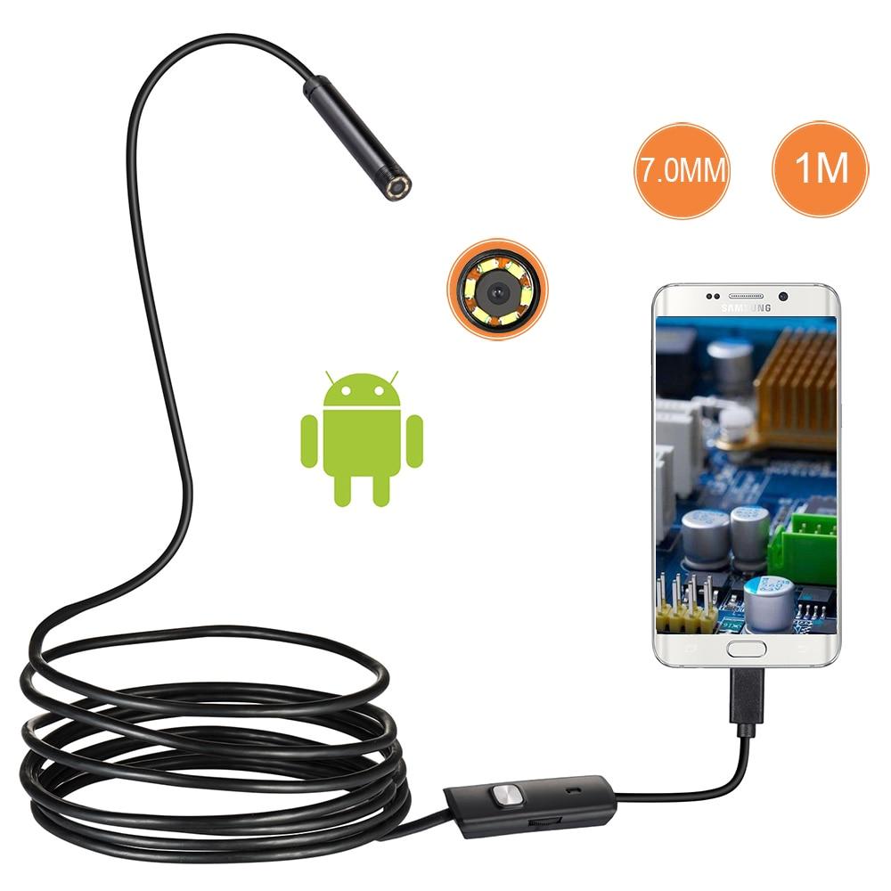1/2/1.5M 7mm עדשת USB אנדוסקופ מצלמה עמיד למים חוט נחש צינור פיקוח Borescope עבור OTG תואם אנדרואיד טלפונים