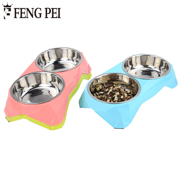 Fengpei Stainless Double Dog Bowls Moveable Pattern Non Slip Bottom Three Color Pet Cat Feeder