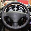 Preto de Couro Artificial DIY Mão-costurado Tampa Da Roda de Direção para Peugeot 206 2007-2009/207/Citroen C2