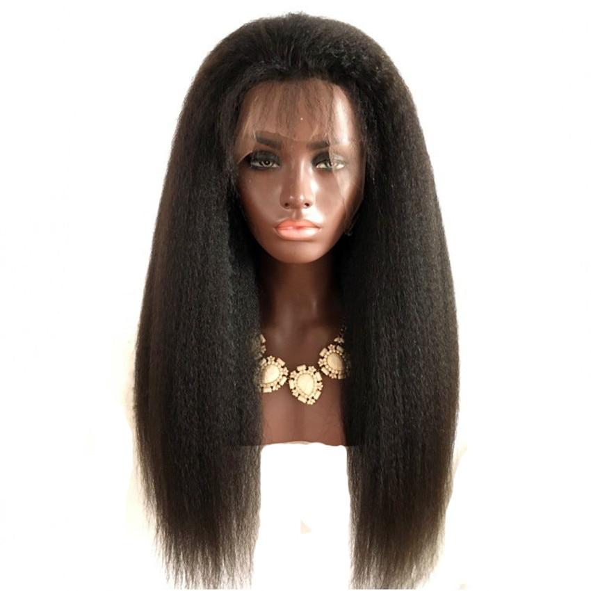 Feibin Syntetisk Spets Fram Paryk För Svarta Kvinnor Yaki Straight Lång 24inch 60cm Afro Brun Värmebeständig Fiber Hår
