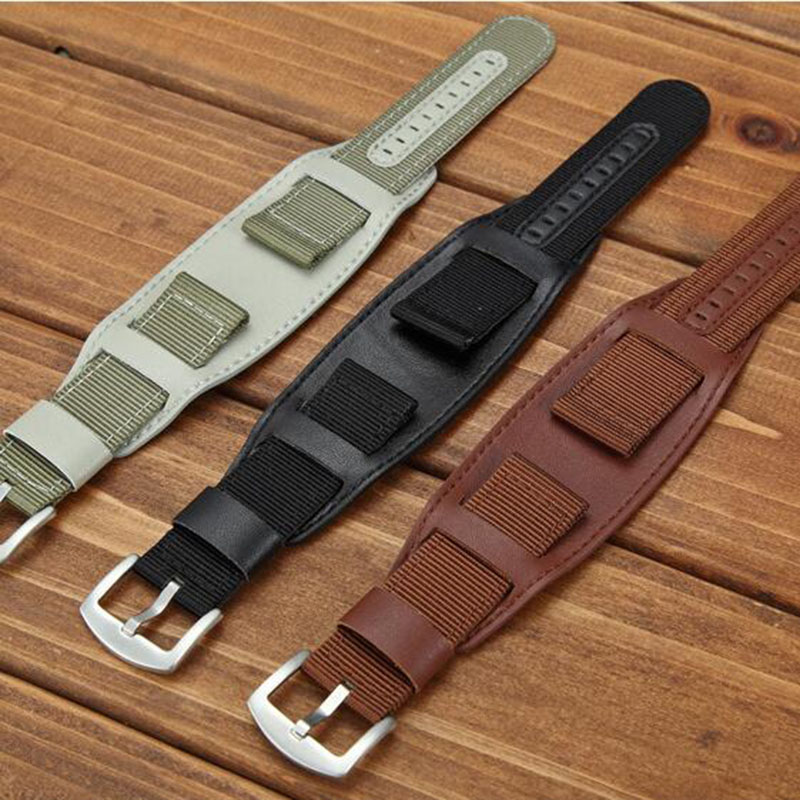 Universal Nylon Watchband Leather Lining Strap 18mm 20mm 22mm 24mm Stainless Steel Men Woman Band Watch Accessories High Quality