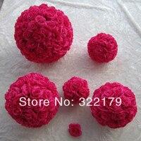 6 pcs 20cm Fuschia Kissing Pomander Balls Artificial Flowers Balls For Wedding Decoration