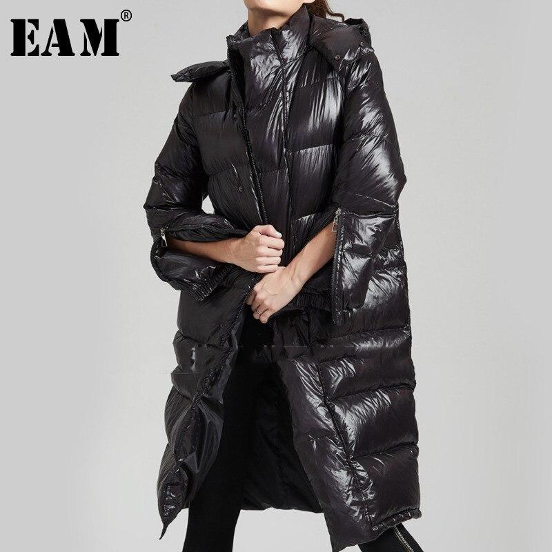 [EAM] 2018 осень зима женщина с капюшоном Стильный Soild Цвет карманы с длинным рукавом капюшон свободные Утепленная одежда глянцевый пуховик пал
