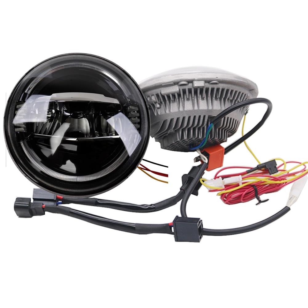 Pour Jeep Wrangler JK TJ Cruiser Hummer H1 H2 H4 7 ''pouces LED ronde phares ampoule avec clignotant ambre DRL