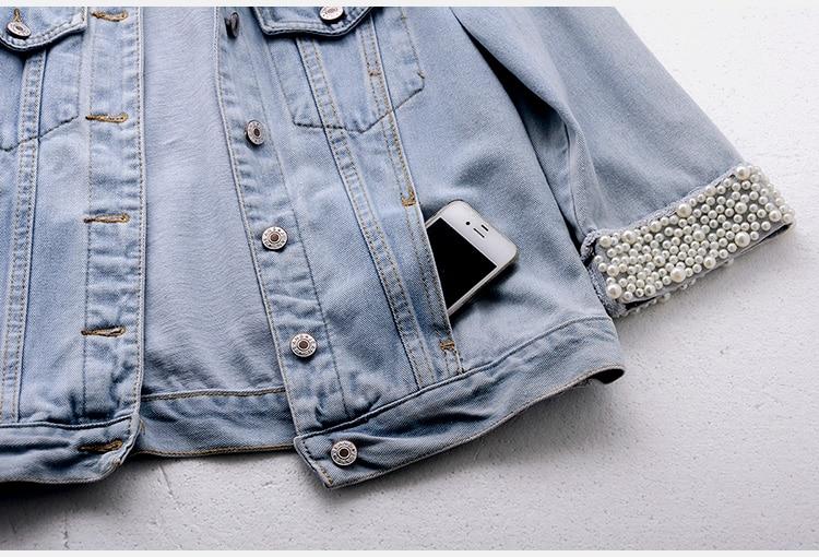 2018 Women Spring Autumn Korean Diamond Beaded Denim Jacket Summer Light Blue Short Jackets Slim Jeans Coats Feminino Outerwear 4