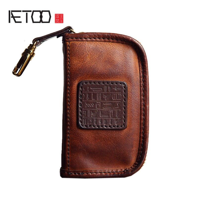 AETOO Fashion Unisex Door Car Key Genuine Leather Keychain Holder Bag Purse Key Wallet Case Wholesales