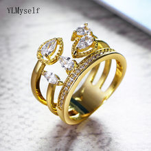 Волшебные красивые кольца блестящие кубические циркониевые камни